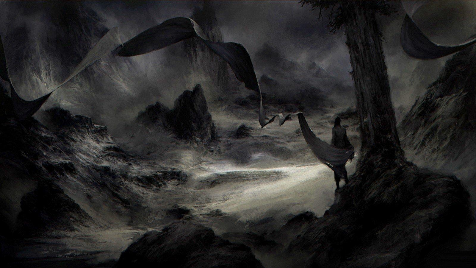 Black Dark Fantasy Art Wallpaper