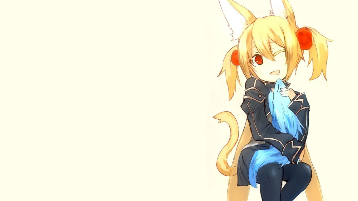blondes tails animal ears red eyes short hair twintails anime wink simple background anime girls white background Sword Art Online Ayano Keiko Pina wallpaper