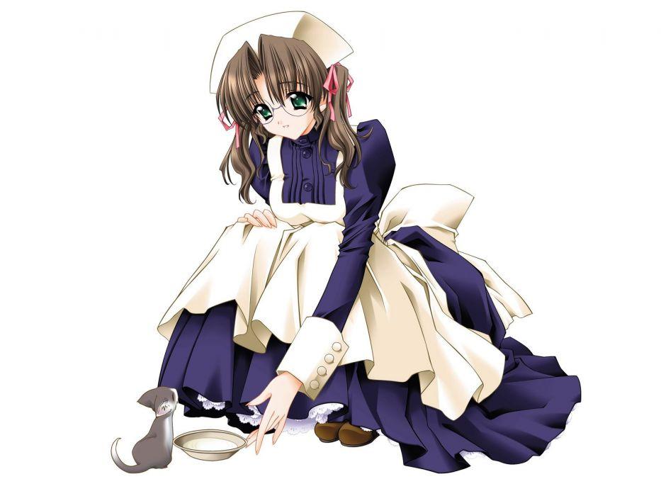 brunettes women cats maids Carnelian meganekko simple background anime girls wallpaper