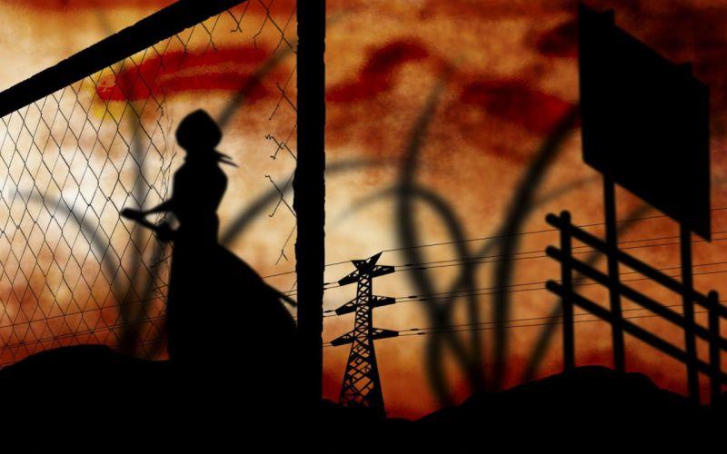 sunset fences signs Bleach silhouettes power lines Kuchiki Rukia anime wallpaper