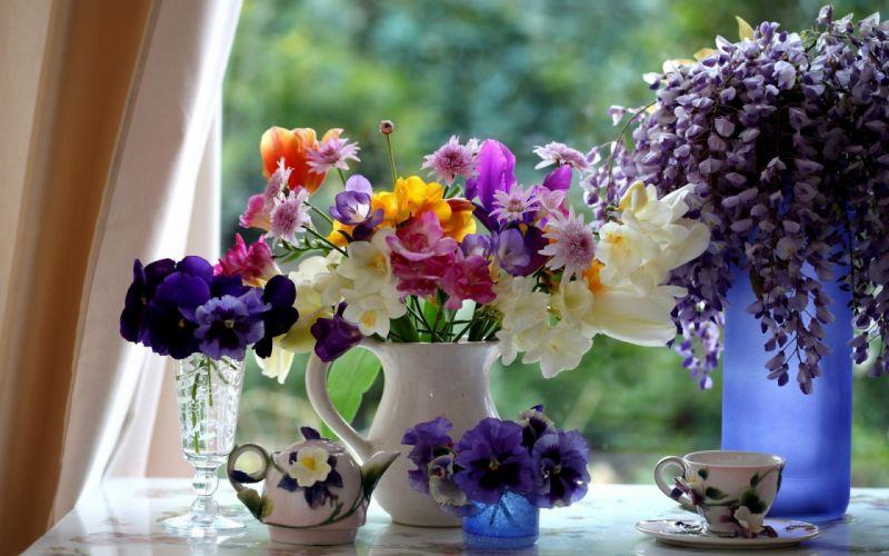 flowers houses wallpaper