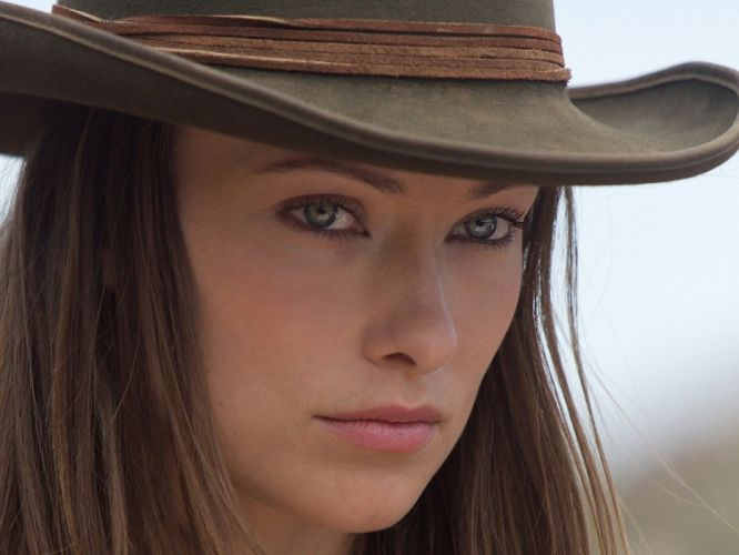 brunettes women blue eyes Olivia Wilde cowgirls Cowboys and Aliens wallpaper