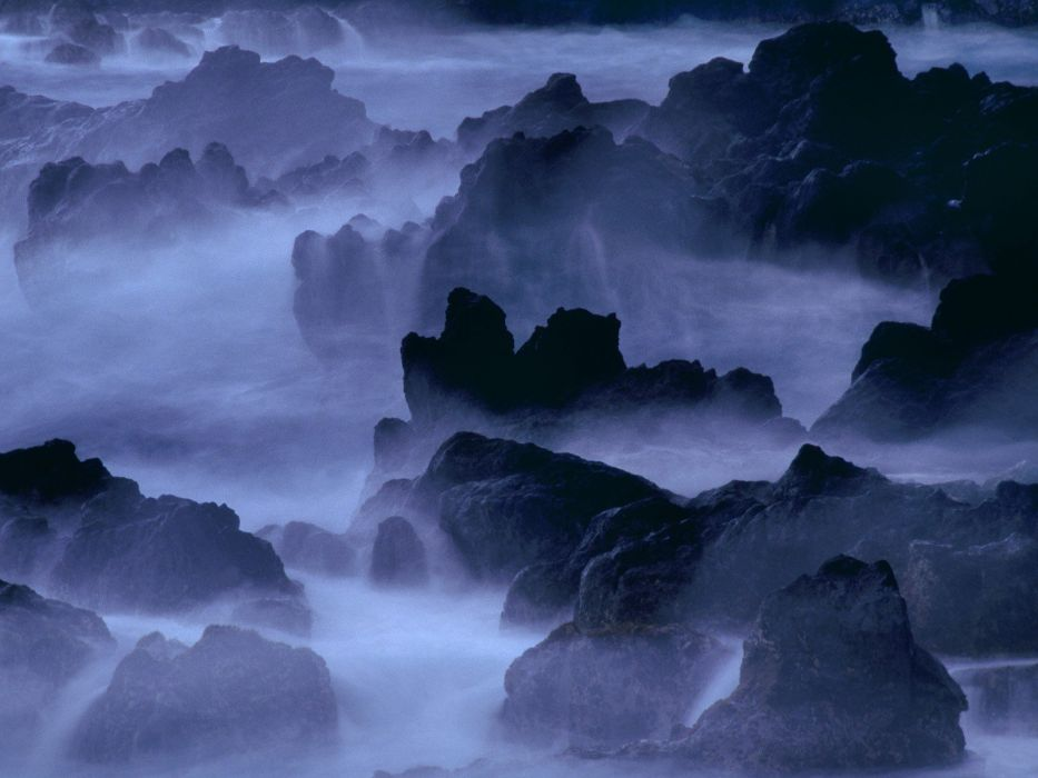 coast rocks Hawaii mist wallpaper