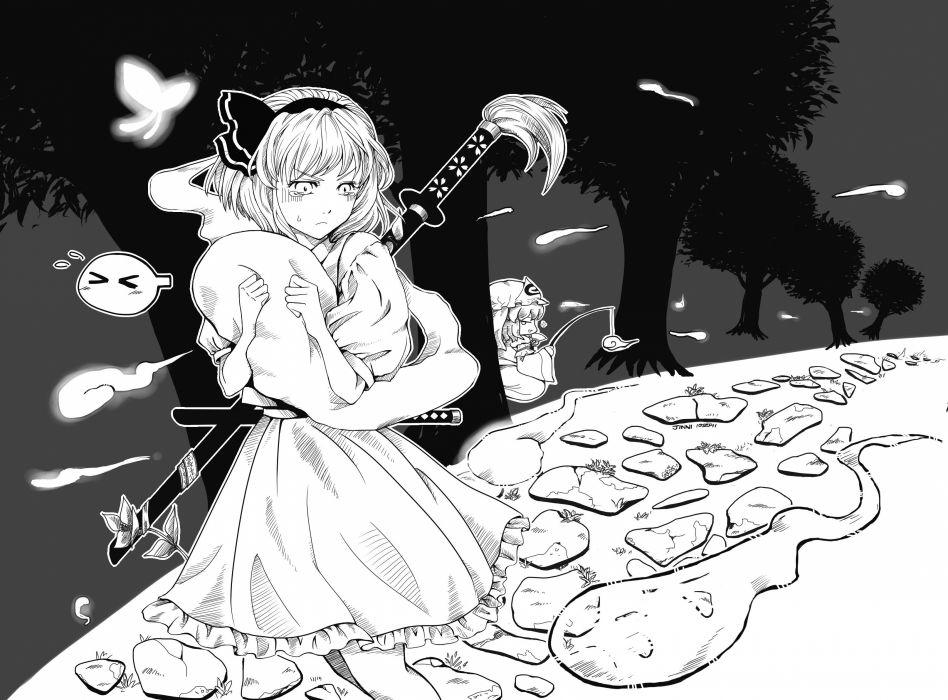Touhou Konpaku Youmu monochrome Saigyouji Yuyuko  wallpaper