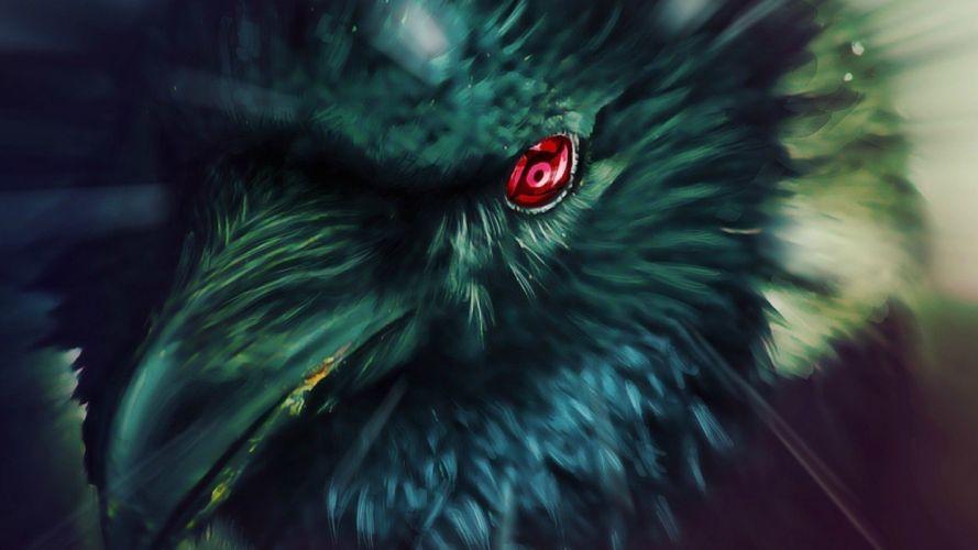 birds Naruto: Shippuden Sharingan crows ravens wallpaper