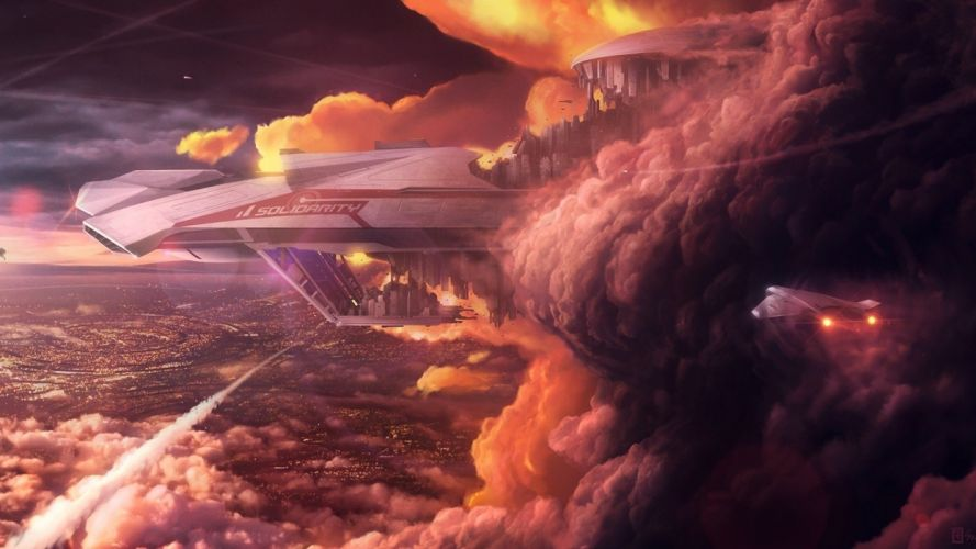 clouds floating fantasy art artwork Reid Southen wallpaper