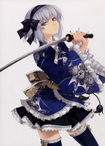 video games Touhou Konpaku Youmu thigh highs blue dress gray hair simple background anime girls swords white background Rokuwata Tomoe wallpaper