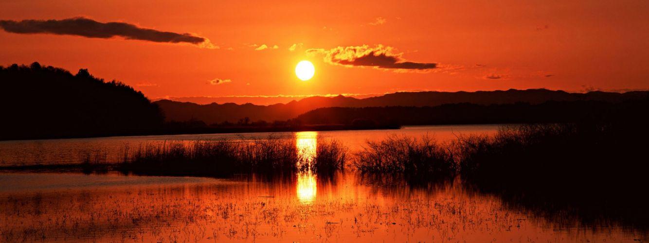 water sunset nature horizon lakes wallpaper