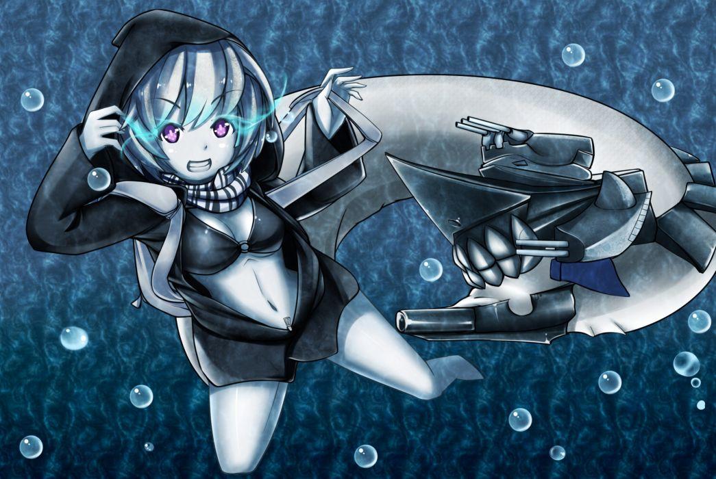 gray hair kantai collection kirubi san purple eyes re-class (kancolle) short hair underwater water wallpaper