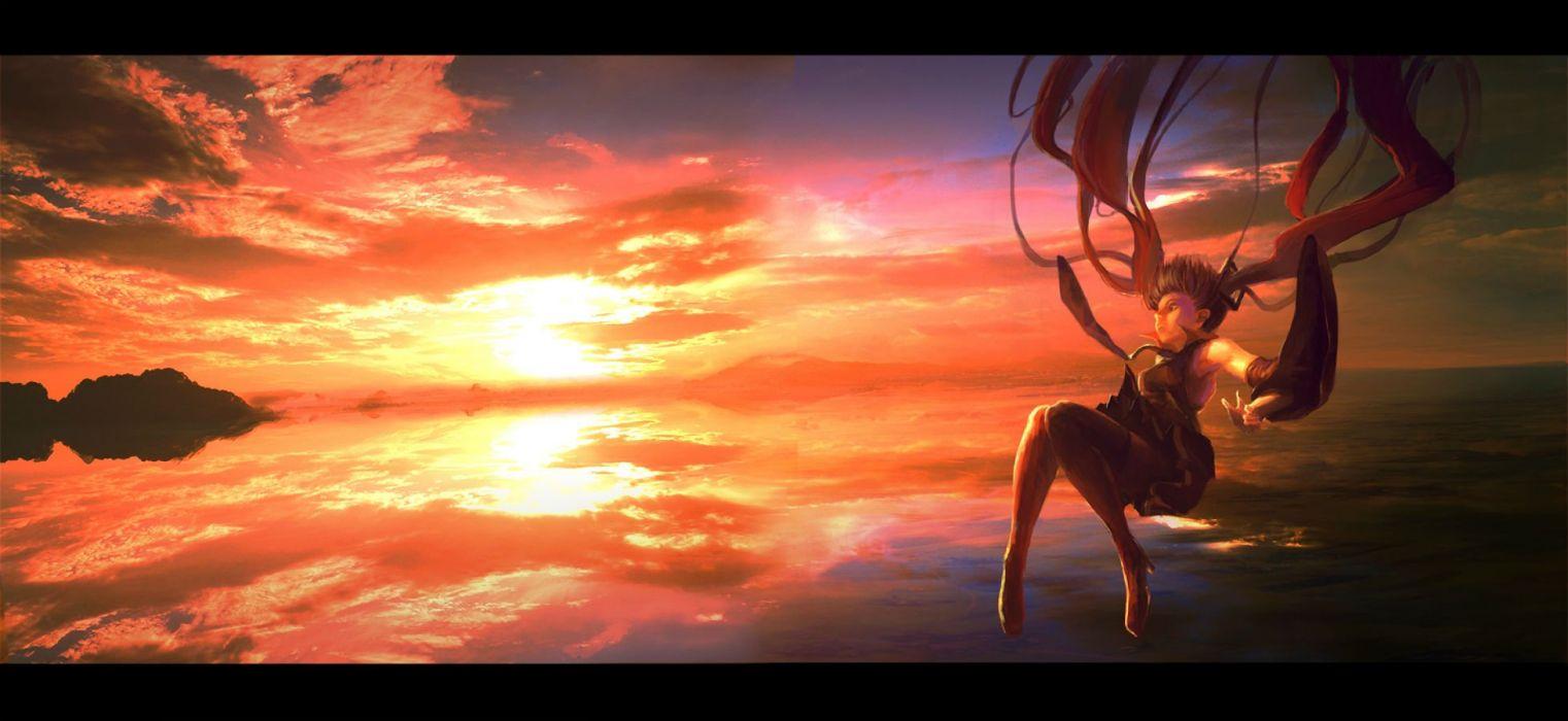 hatsune miku long hair sky sunset twintails vocaloid wad water wallpaper