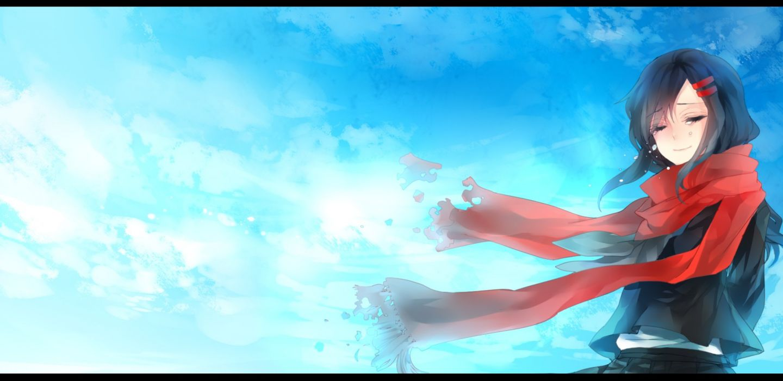 kagerou project nevakuma (fanfanas) scarf sky tateyama ayano tears wallpaper