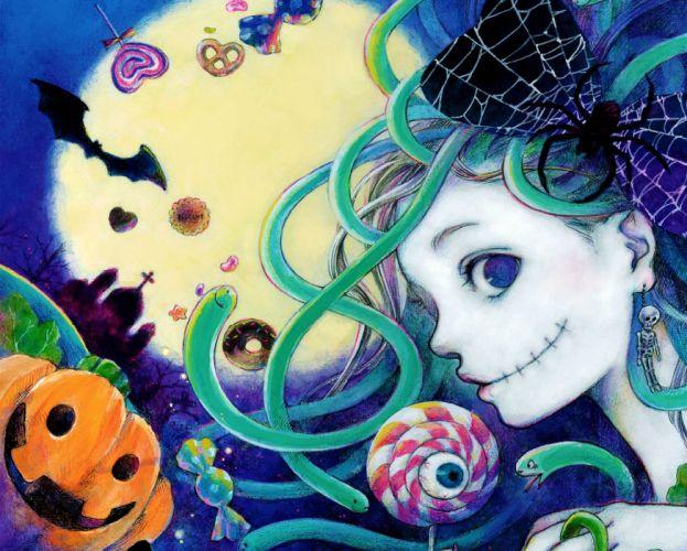 Natsuko Echizen original halloween pumkin dark fantasy gothic gothi loli f wallpaper