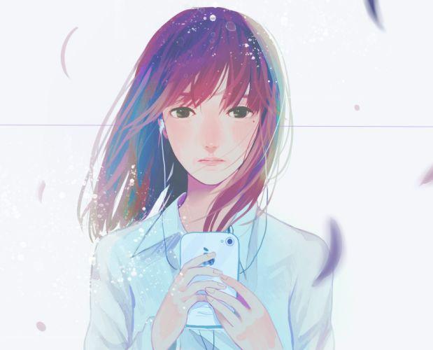 Pixiv Id 5363993 original girl mood headphones soft wallpaper