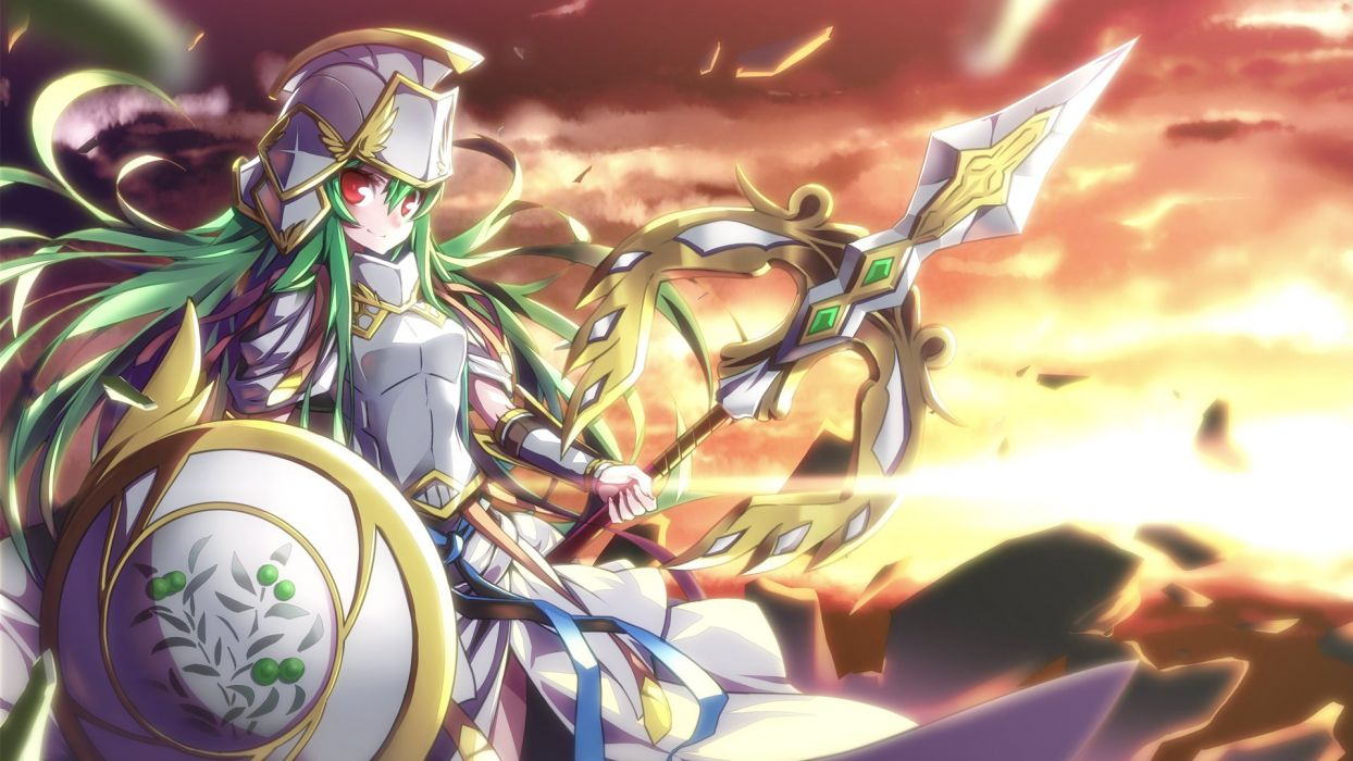 Puzzle Dragons Athena warrior armor fantasy weapon girl    f wallpaper