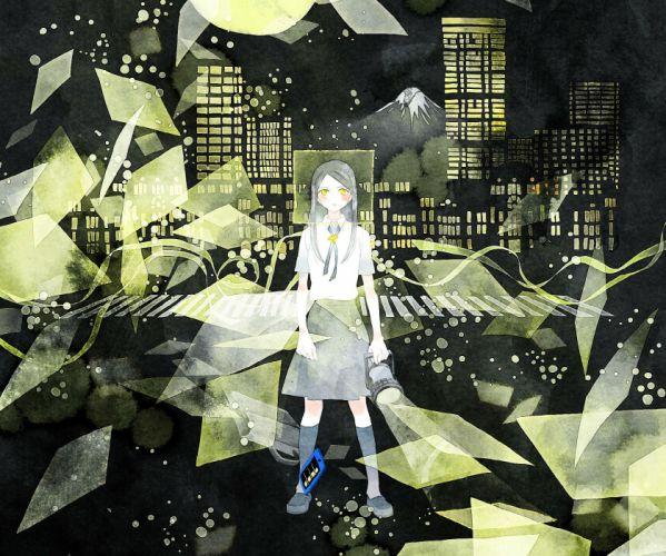 Yoshitsugi original city mood girl shatter night dark g wallpaper