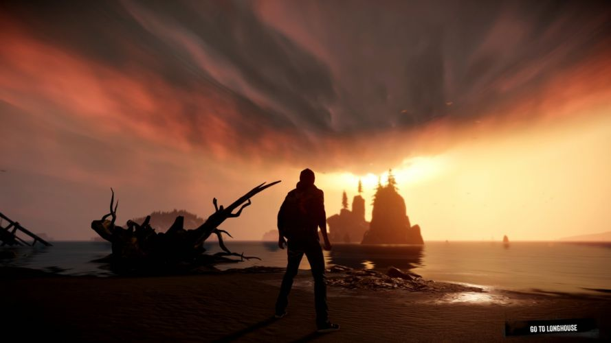 inFAMOUS SECOND SON sci-fi action adventure sunset ocean sea mood beach wallpaper