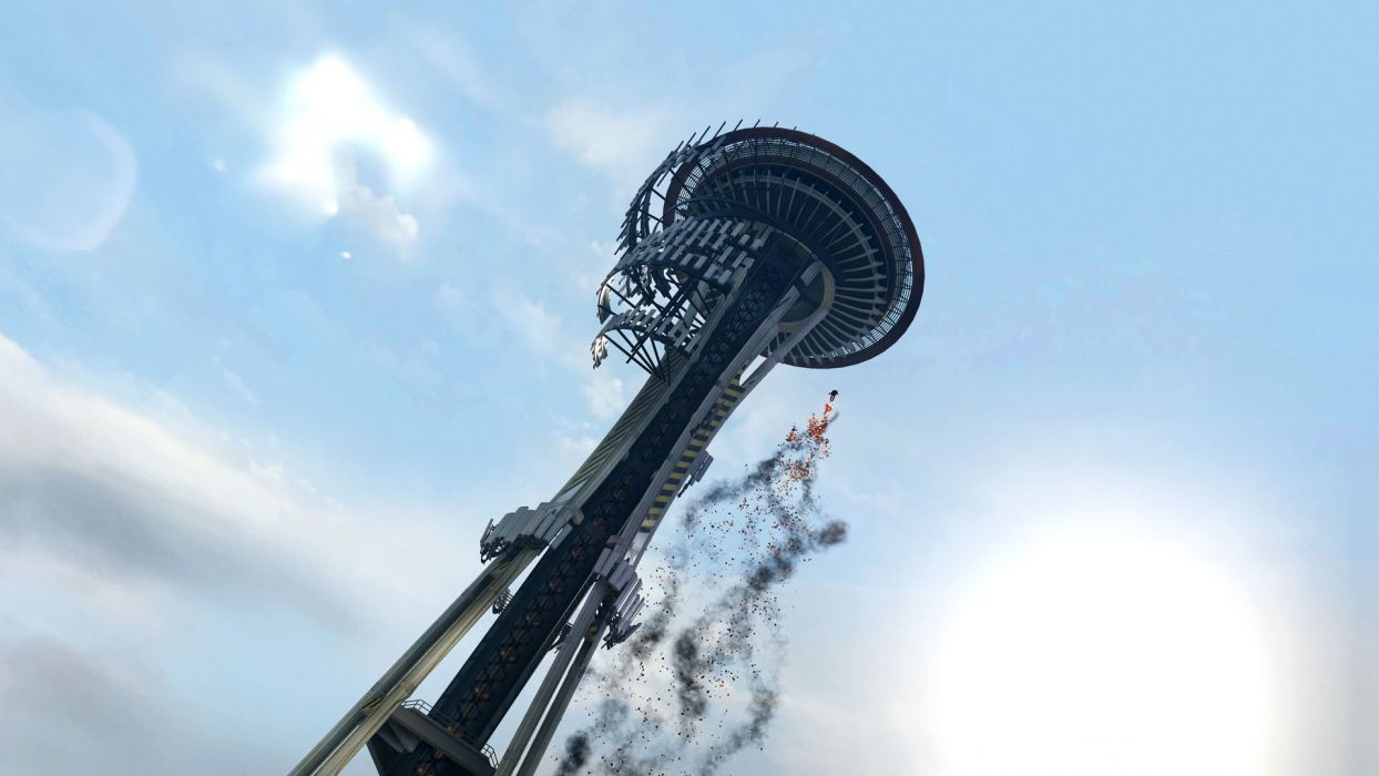 inFAMOUS SECOND SON sci-fi action adventure seattle space needle warrior magic wallpaper