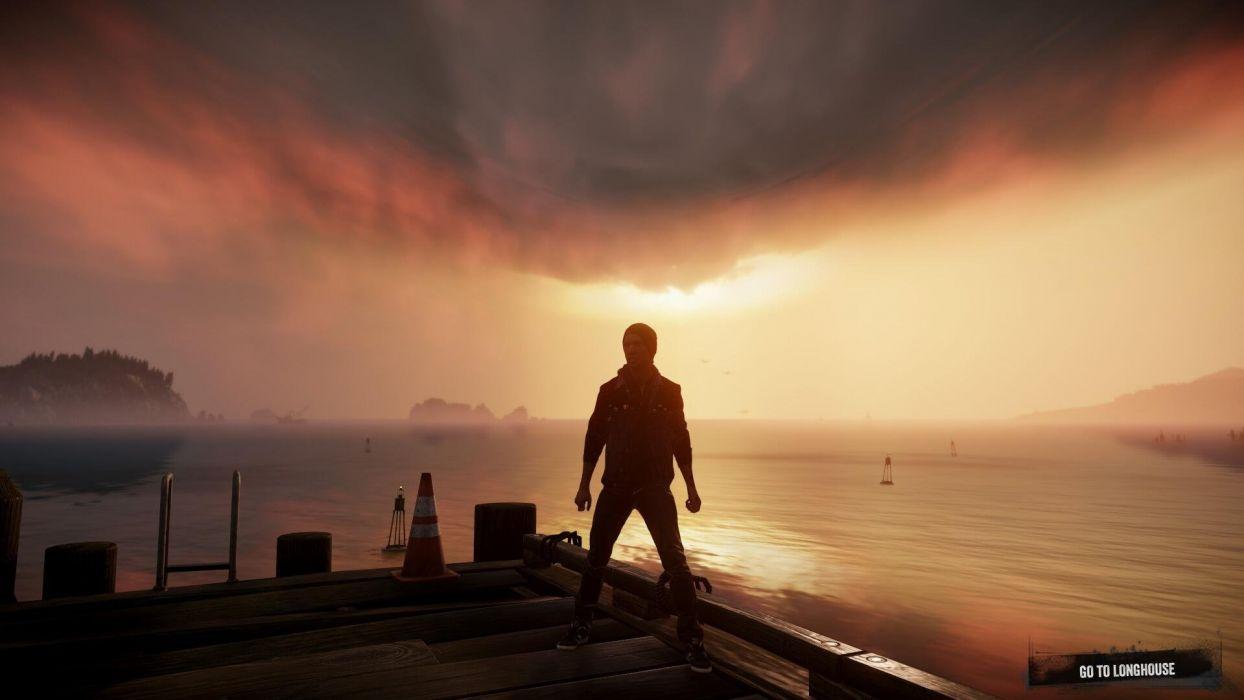 inFAMOUS SECOND SON sci-fi action adventure sunset warrior mood ocean sea wallpaper