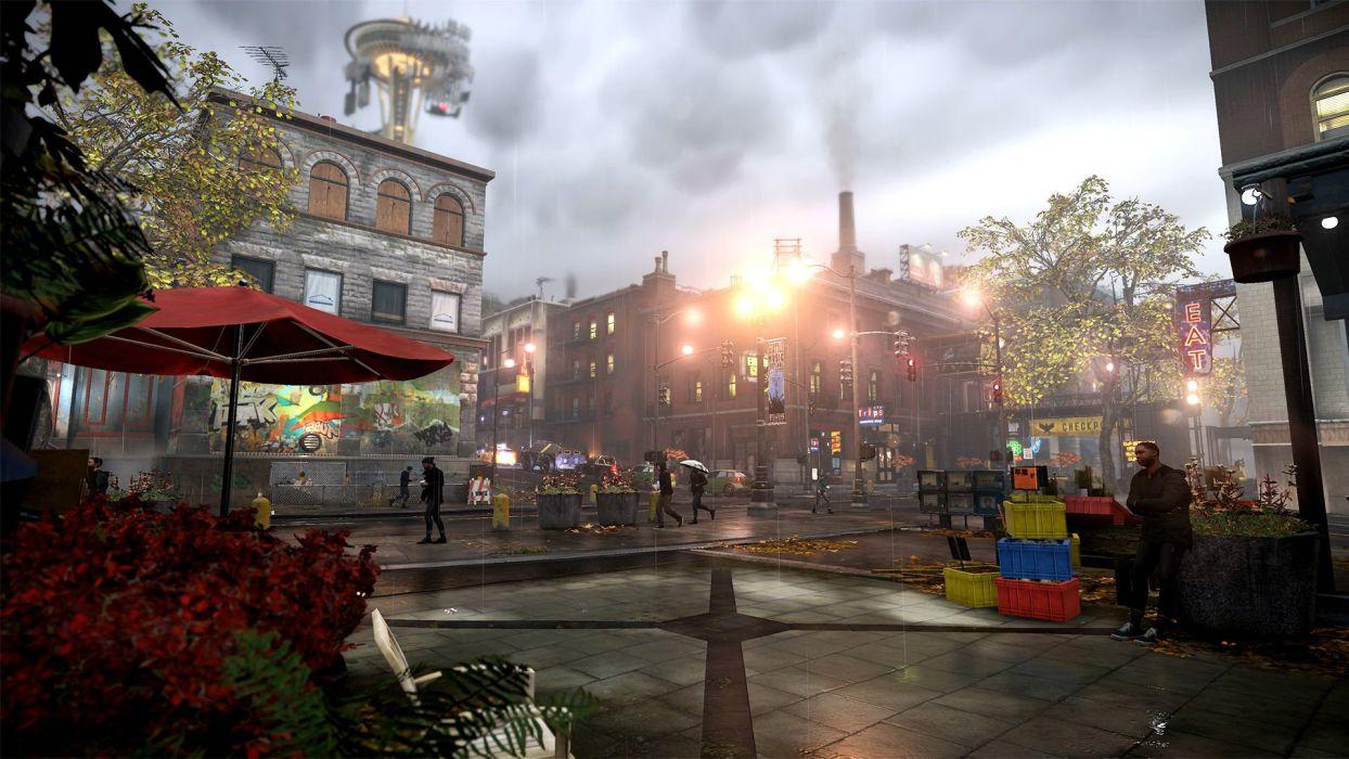 inFAMOUS SECOND SON sci-fi action adventure seattle city rain wallpaper