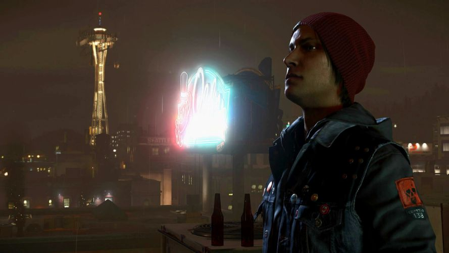 inFAMOUS SECOND SON sci-fi action adventure warrior seattle space needle wallpaper