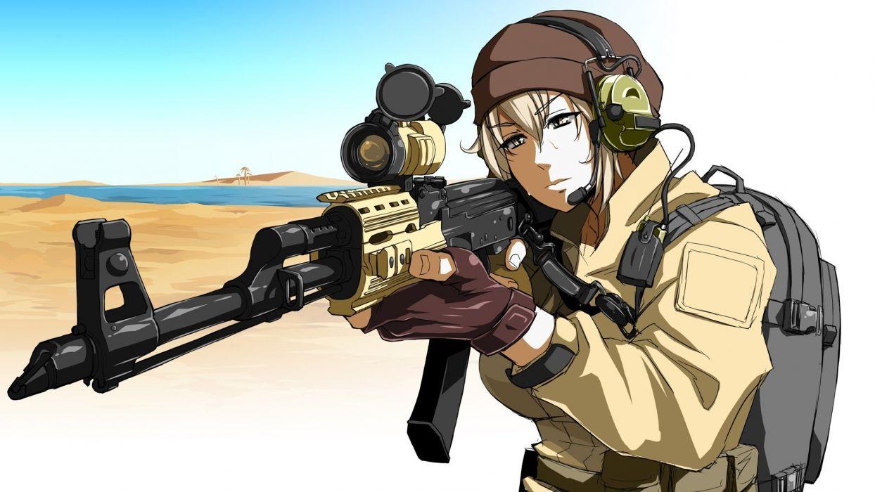 guns anime girls original characters wallpaper