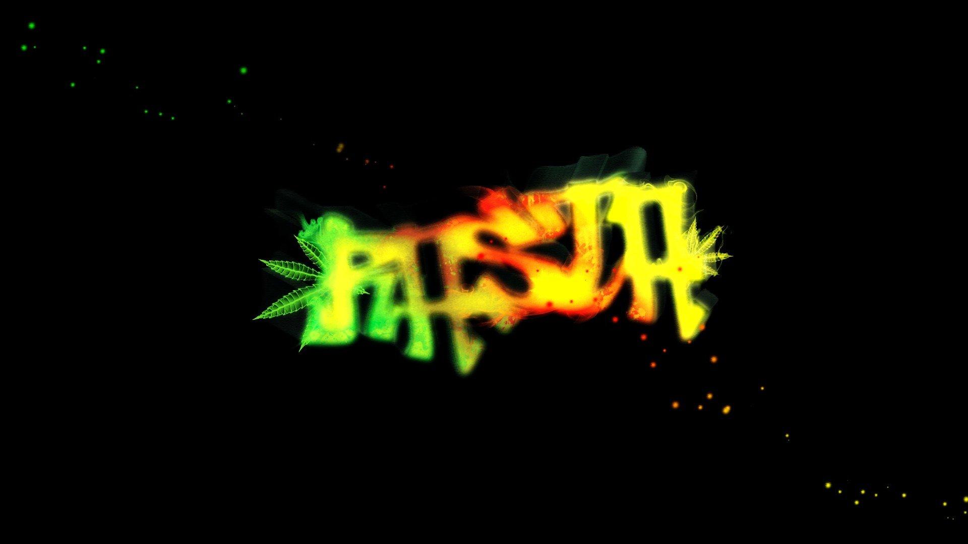 Leaves Smoke Graffiti Sparkles Marijuana Typography Glowing Rasta Glow Television Rastafari Wallpaper