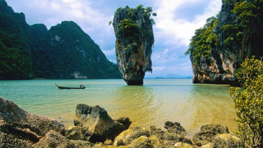 landscapes nature James Bond islands Thailand majestic National Park wallpaper
