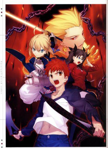 Fate/Stay Night Tohsaka Rin Emiya Shirou Gilgamesh concept art artwork characters anime Saber Fate series wallpaper