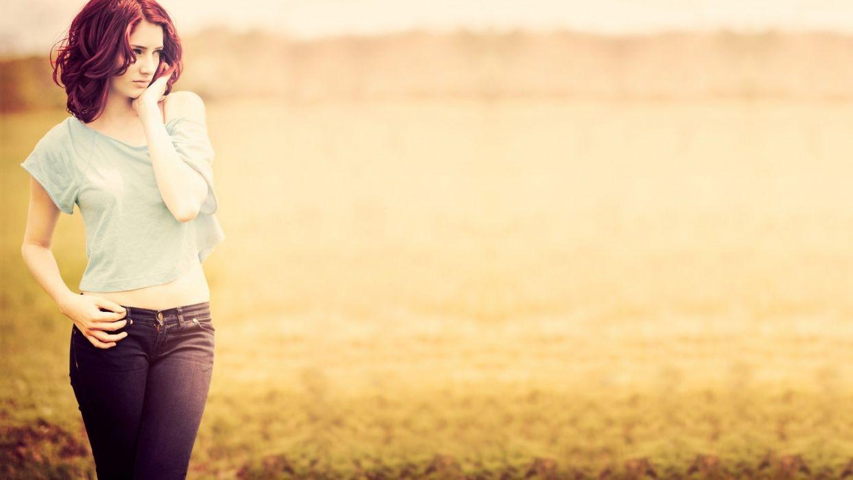 women Susan Coffey redheads fields wallpaper