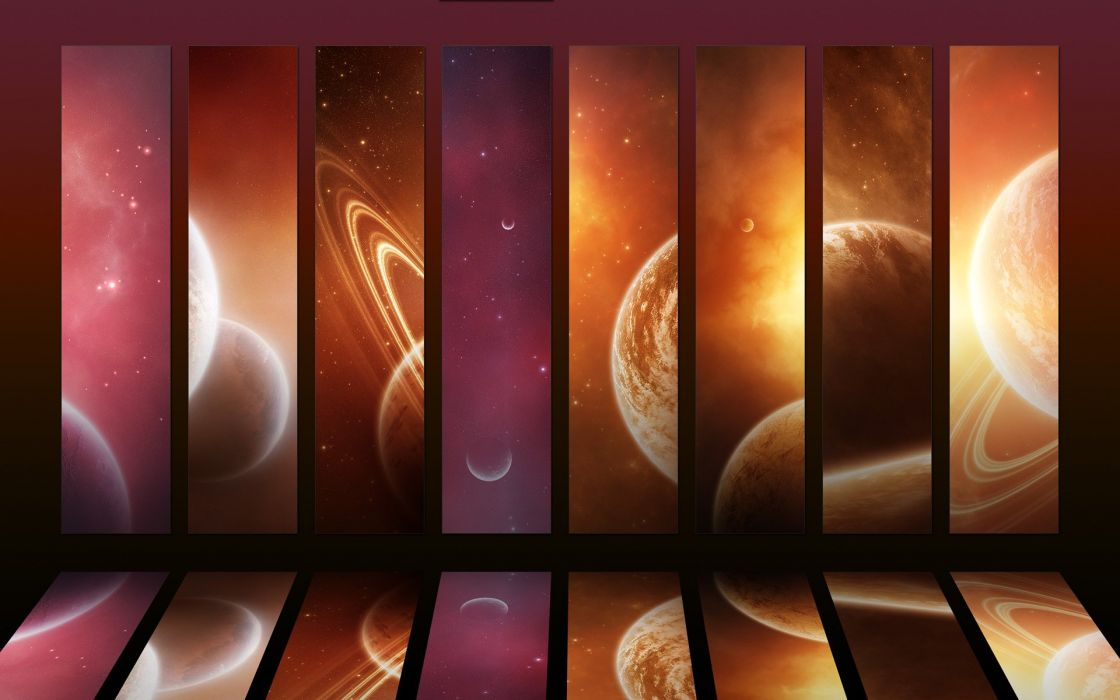 outer space planets mosaic wallpaper