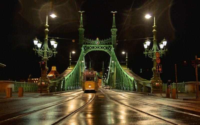 cityscapes night lights yellow bridges Hungary Budapest artwork rivers night city wallpaper