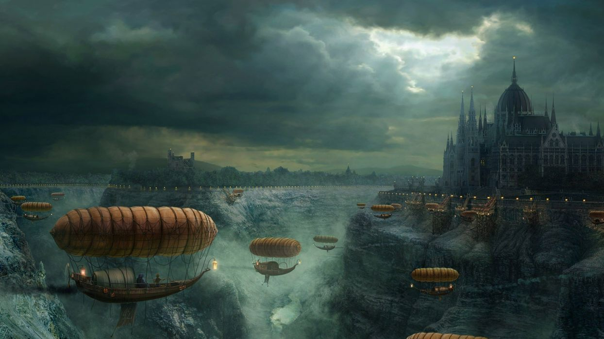 castles steampunk fantasy art vehicles airship wallpaper