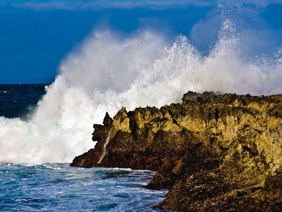 ocean waves rocks wallpaper