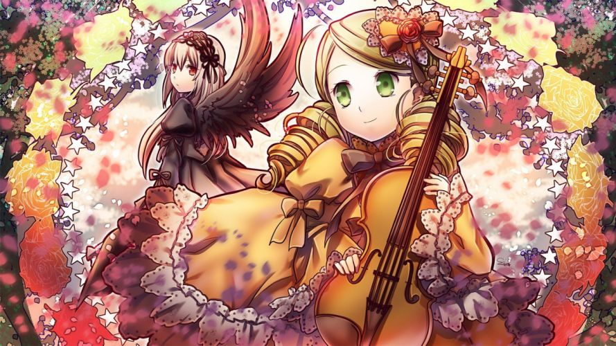 blondes wings dress flowers long hair Rozen Maiden green eyes Suigintou red eyes violins twintails Kanaria head dress curly hair anime lolita fashion gray hair anime girls hair ornaments gothic lolita wallpaper