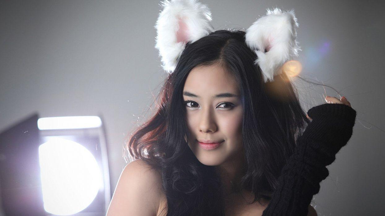 lingerie brunettes women models Asians cat ears Korean bunny ears wallpaper