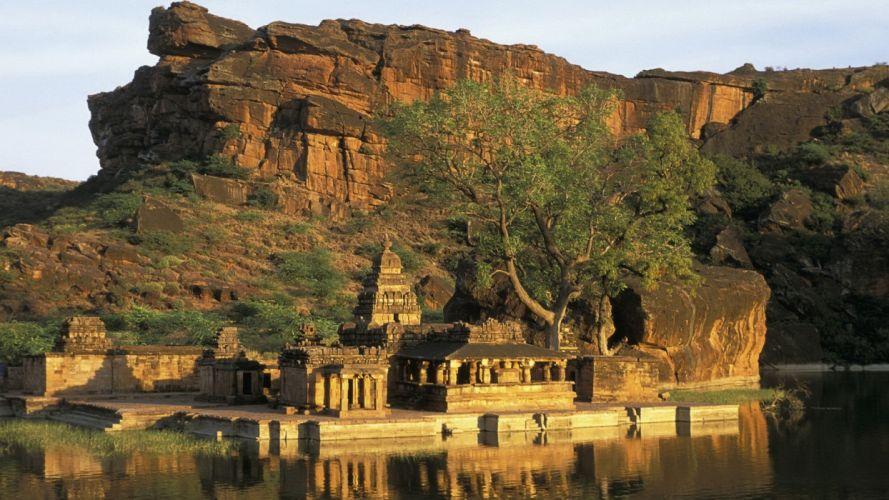 rocks temples rivers wallpaper