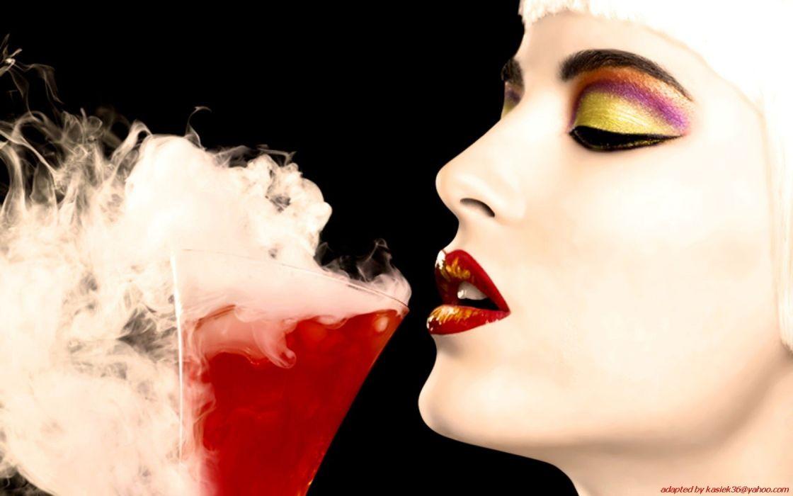 women lips drinks faces pale skin black background wallpaper