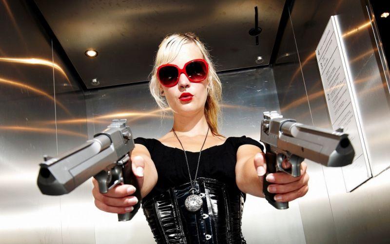 blondes women guns wallpaper
