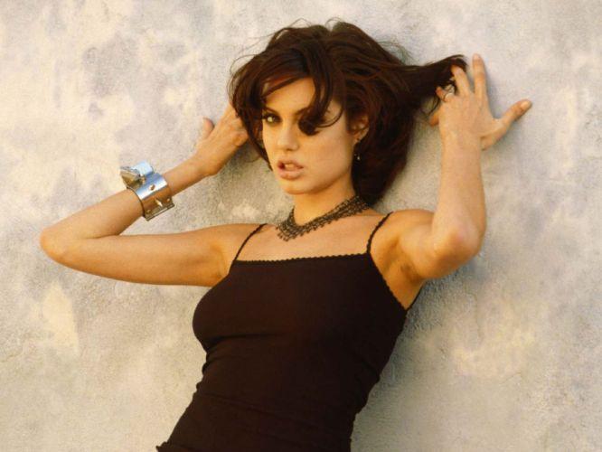 brunettes women actress Angelina Jolie lips long hair celebrity expressionism faces black hair wallpaper