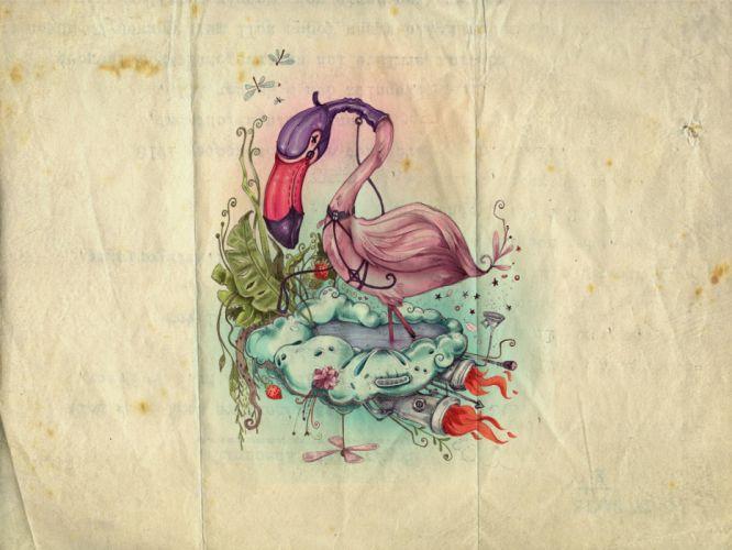 flamingos artwork drawings wallpaper