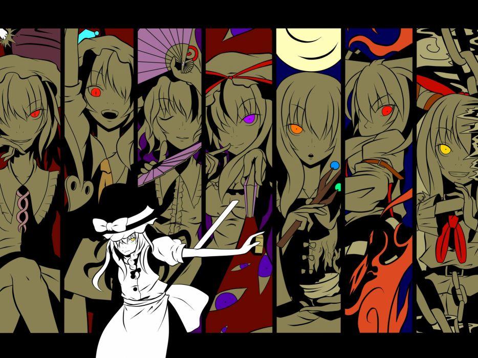 video games Touhou eyes fire demons Moon ribbons weapons Oni vampires Fujiwara no Mokou red eyes yellow eyes Kirisame Marisa Houraisan Kaguya Yakumo Yukari bows suspenders spears closed eyes chains purple eyes Flandre Scarlet orange eyes Saigyouji Yuyuko  wallpaper