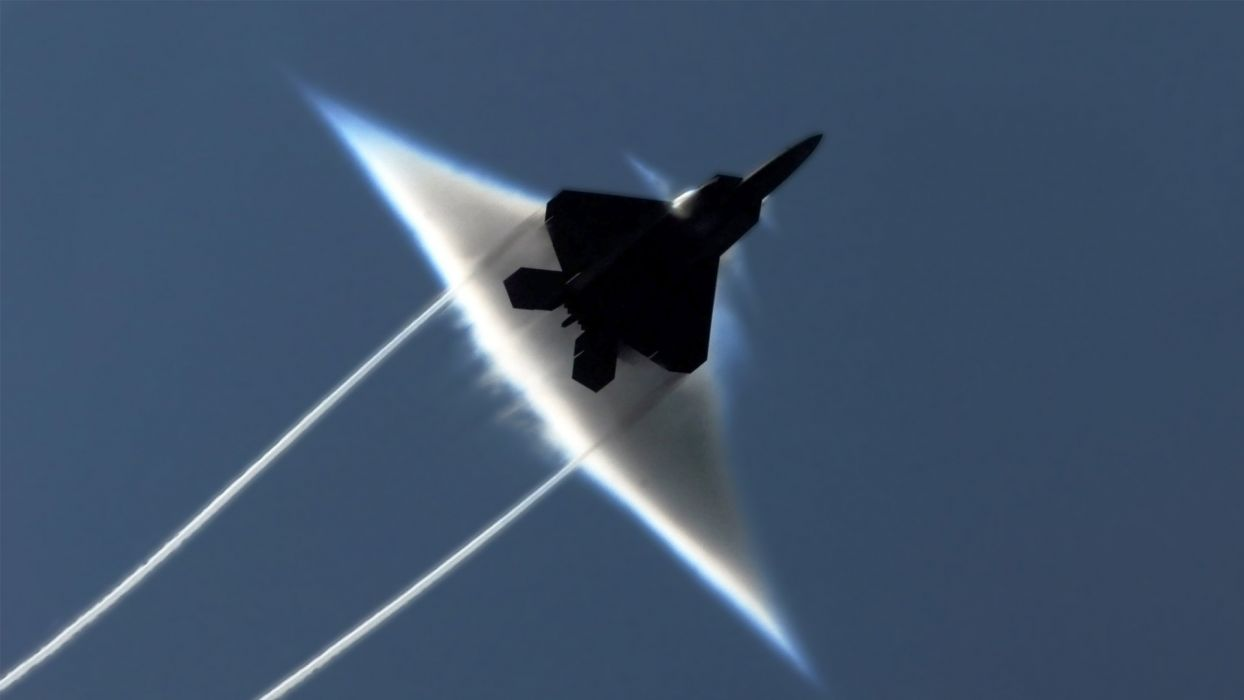aircraft military F-22 Raptor contrails sound barrier wallpaper