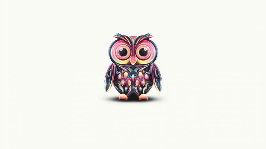 cartoons abstract birds owls anime simple background widescreen wallpaper