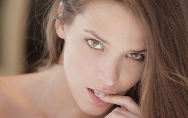 brunettes women close-up eyes models lips X-Art magazine faces Silvie Silvie De Lux Elance A fingers on lips wallpaper