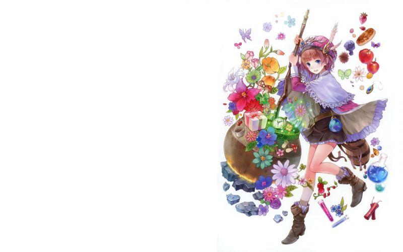 multicolor flowers fruits Kishida Mel anime girls Atelier Rorona Atelier Totori Rororina Fryxell butterflies wallpaper