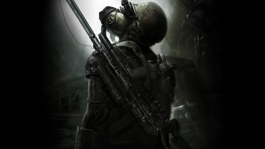 video games gas masks sniper rifles science fiction wallpaper