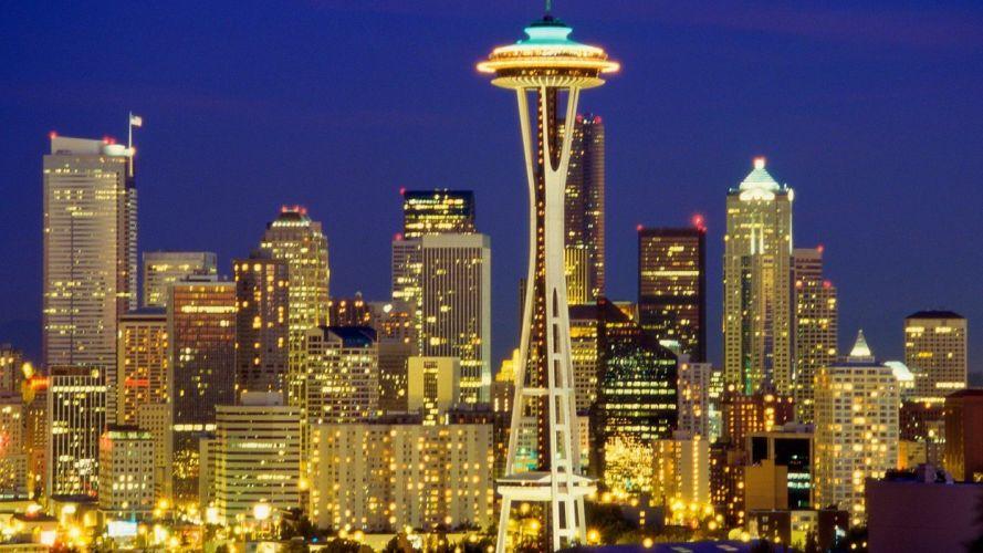 skylines night Seattle Washington wallpaper