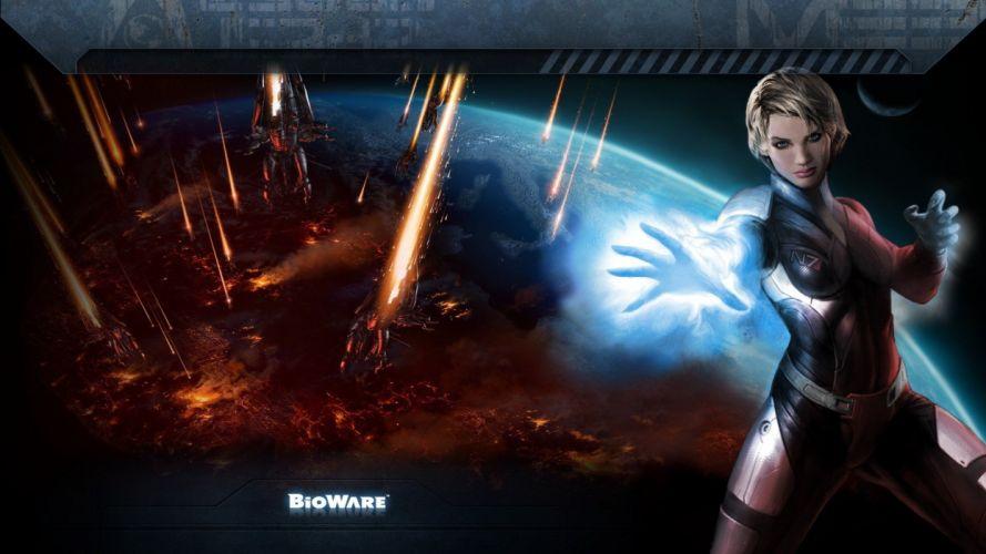 women video games outer space futuristic planets bodysuits BioWare biotic artwork Mass Effect 3 FemShep Commander Shepard wallpaper