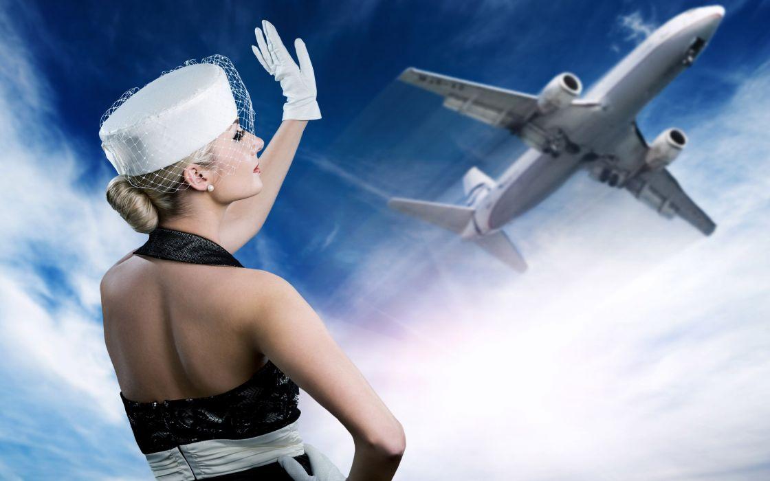 blondes women aircraft wallpaper