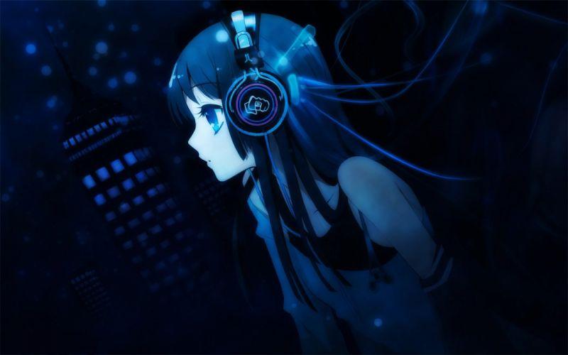 headphones K-ON! Akiyama Mio anime anime girls wallpaper